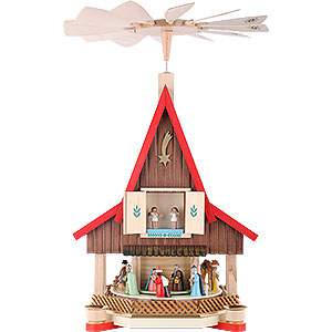 Christmas-Pyramids 2-tier Pyramids 2-Tier Adventhouse - Nativity Scene - 53 cm / 21 inch