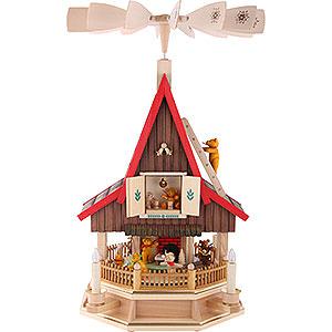 Christmas-Pyramids 2-tier Pyramids 2-Tier Adventhouse Teddybears Electrically Driven  by Richard Glässer- 53 cm / 21 inch
