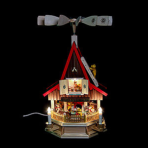 Christmas-Pyramids 2-tier Pyramids 2-Tier Adventhouse Teddybears Electrically Driven by Richard Glässer- 53 cm / 21 inch