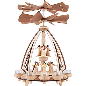 Christmas-Pyramids 2-tier Pyramids 2-Tier Pyramid - Angels with Two Counter Rotating Winged Wheels - 43 cm / 17 inch