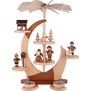 Christmas-Pyramids 2-tier Pyramids 2-Tier Tea Candle Pyramide Sail with Figures - 42 cm / 16.5 inch