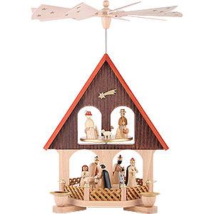 Weihnachtspyramiden 2-stöckige Pyramiden 2-stöckiges Pyramidenhaus Christi Geburt - 36 cm