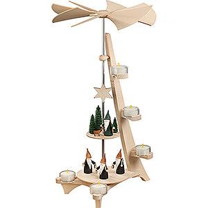 Weihnachtspyramiden 2-stöckige Pyramiden 2-stöckige Pyramide L-Form Bergwichtel und Jägerwichtel - 50 cm