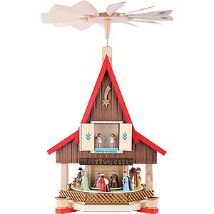 Weihnachtspyramiden 2-stöckige Pyramiden 2-stöckiges Adventshaus - Christi Geburt - 53 cm