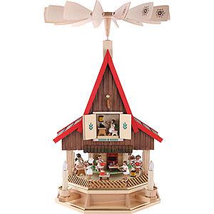Weihnachtspyramiden 2-stöckige Pyramiden 2-stöckiges Adventshaus Engelsbäckerei elektrisch von Richard Glässer - 53 cm
