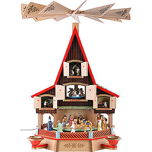 Christmas-Pyramids 3-tier Pyramids 3-Tier Advent's House Nativity and Windows - 62 cm / 24 inch