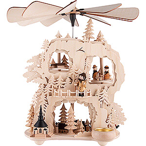 Christmas-Pyramids 3-tier Pyramids 3-Tier Cogwheel Pyramid -Seiffen Village - 35 cm / 13.8 inch