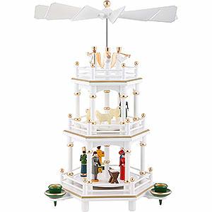 Christmas-Pyramids 3-tier Pyramids 3-Tier Pyramid - Christmas, White - 35 cm / 13.8 inch