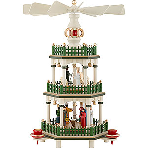 Christmas-Pyramids 3-tier Pyramids 3-Tier Pyramid - Nativity - Historic Colors White/Green - 35 cm / 14 inch