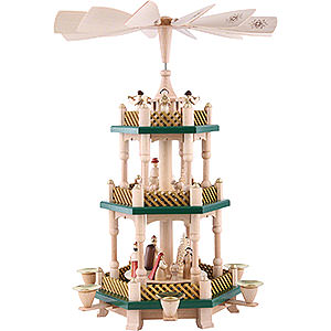 Christmas-Pyramids 3-tier Pyramids 3-Tier Pyramid - Nativity Scene - Christmas Green/Natural Wood - 40 cm / 16 inch