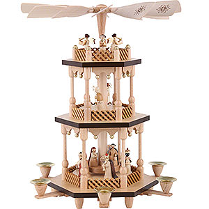 Christmas-Pyramids 3-tier Pyramids 3-Tier Pyramid - Nativity Scene - Natural Wood - 38 cm / 15 inch