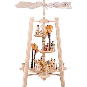 Christmas-Pyramids 3-tier Pyramids 3-Tier Pyramid - Nativity Scene - Natural Wood - 40 cm / 16 inch
