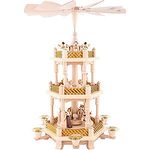 Christmas-Pyramids 3-tier Pyramids 3-Tier Pyramid - Nativity Scene Natural Wood - 40 cm / 16 inch