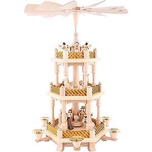 Christmas-Pyramids 3-tier Pyramids 3-Tier Pyramid - Nativity Scene Natural Wood - 40 cm / 16 inch