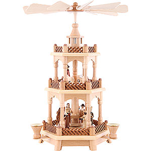 Christmas-Pyramids 3-tier Pyramids 3-Tier Pyramid - Nativity Scene Natural Wood - 42 cm /16.5 inch