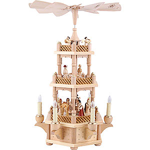 Christmas-Pyramids 3-tier Pyramids 3-Tier Pyramid - Nativity Scene Natural Wood - 45 cm / 18 inch