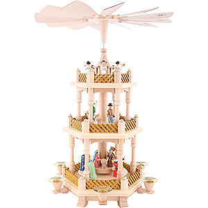 Christmas-Pyramids 3-tier Pyramids 3-Tier Pyramid - Nativity Scene Painted - 40 cm / 16 inch