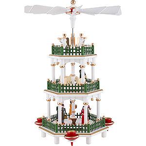 Christmas-Pyramids 3-tier Pyramids 3-Tier Pyramid - Nativity Scene White - 35 cm / 14 inch