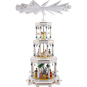 Christmas-Pyramids 3-tier Pyramids 3-Tier Pyramid - Nativity, White - 76 cm / 30 inch