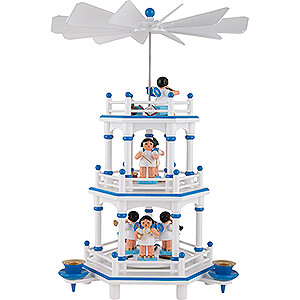Christmas-Pyramids 3-tier Pyramids 3-Tier Pyramid - White-Blue - Music Angels with Blue Wings  - 35 cm / 13.8 inch