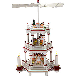 Christmas-Pyramids 3-tier Pyramids 3-Tier Pyramid - White-Red - Present Angels with Red Wings  - 35 cm / 13.8 inch
