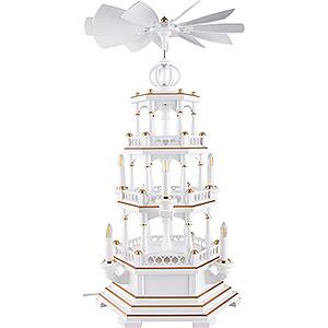 Christmas-Pyramids 3-tier Pyramids 3-Tier Pyramid - without Figurines, White-Gold - 230 V Electr. Motor - 58 cm / 22.8 inch