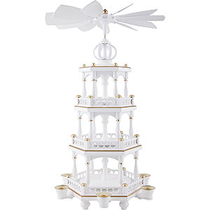 Christmas-Pyramids 3-tier Pyramids 3-Tier Pyramid - without Figurines, White-Gold - 51 cm / 20 inch