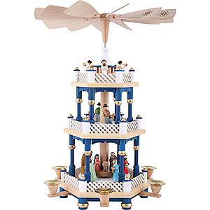 Weihnachtspyramiden 3-stöckige Pyramiden 3-stöckige Pyramide Christi Geburt blau - 40 cm