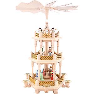 Weihnachtspyramiden 3-stöckige Pyramiden 3-stöckige Pyramide Christi Geburt bunt - 40 cm