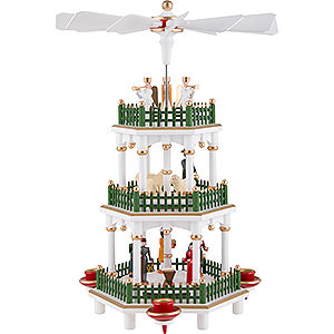 Weihnachtspyramiden 3-stöckige Pyramiden 3-stöckige Pyramide Christi Geburt weiß - 35 cm