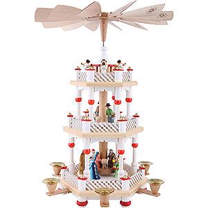 Weihnachtspyramiden 3-stöckige Pyramiden 3-stöckige Pyramide Christi Geburt weiß - 40 cm