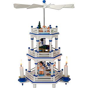 Weihnachtspyramiden 3-stöckige Pyramiden 3-stöckige Pyramide weiß-blau Geschenke-Engel mit blauen Flügeln  - 35 cm