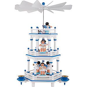 Weihnachtspyramiden 3-stöckige Pyramiden 3-stöckige Pyramide weiß-blau Instrumenten-Engel mit blauen Flügeln  - 35 cm