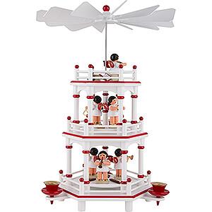 Weihnachtspyramiden 3-stöckige Pyramiden 3-stöckige Pyramide weiß-rot Instrumenten-Engel mit roten Flügeln  - 35 cm