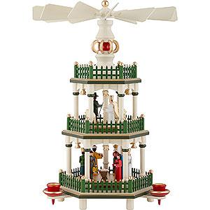 Weihnachtspyramiden 3-stöckige Pyramiden 3-stöckige Pyramide Christi Geburt - historische Farben weiss/grün - 35 cm
