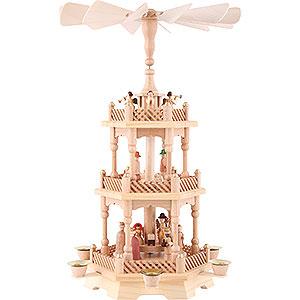 Weihnachtspyramiden 3-stöckige Pyramiden 3-stöckige Pyramide Christi Geburt, natur - 49 cm