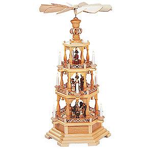 Weihnachtspyramiden 3-stöckige Pyramiden 3-stöckige Pyramide Heilige Geschichte - 100 cm - 120 V Elektromotor (US-Norm)