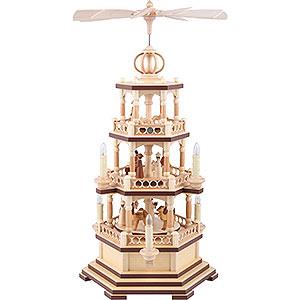 Weihnachtspyramiden 3-stöckige Pyramiden 3-stöckige Pyramide Heilige Geschichte - 58 cm - 120 V Elektromotor (US-Norm)
