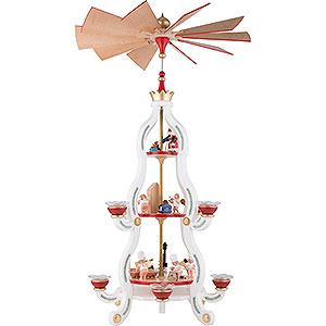 Weihnachtspyramiden 3-stöckige Pyramiden 3-stöckige Pyramide Tradition in weiss - 85,5 cm