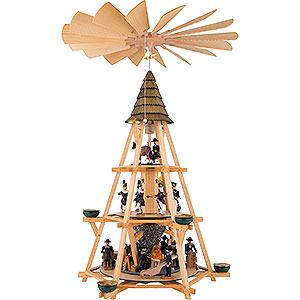 Weihnachtspyramiden 3-stöckige Pyramiden 3-stöckige Pyramide mit Göpel, Bergbauszene - 70 cm