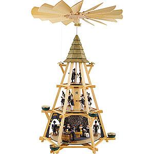 Weihnachtspyramiden 3-stöckige Pyramiden 3-stöckige Pyramide mit Göpel, Mettenschicht - 70 cm