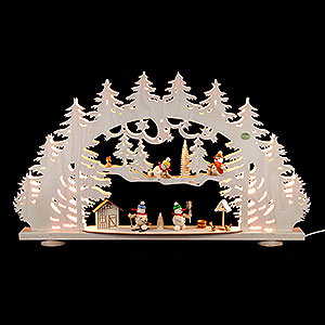 Candle Arches Fret Saw Work 3D Candle Arch - 'A Snowman's Wonderland' - 66x40x8,5 cm / 26x16x3.3 inch