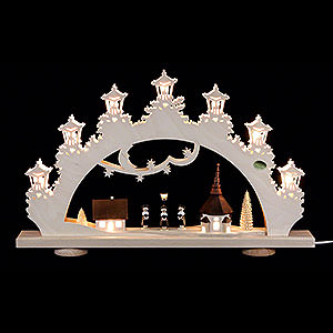 Candle Arches Fret Saw Work 3D Candle Arch - 'Carolers' - 52x32x6 cm / 20x13x2.3 inch