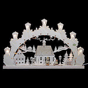 Candle Arches Fret Saw Work 3D Candle Arch - Child with Sleigh - 52x31,5x4,5 cm / 20,5x12,5x2 inch