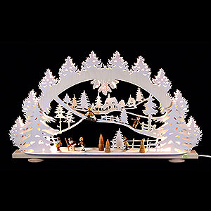 Candle Arches Fret Saw Work 3D Candle Arch - 'Children in the Snow' - 66x40x8,5 cm / 26x16x3.3 inch