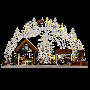 Candle Arches Fret Saw Work 3D Candle Arch - Christmas Bakery with Walki Figures - 72x43 cm / 28x17 inch