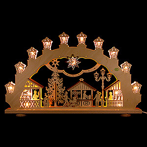 Candle Arches Fret Saw Work 3D Candle Arch - Christmas Market - 66x40 cm / 26x15.7 inch