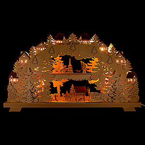 Candle Arches Illuminated inside 3D Candle Arch - Forest - with Deer and Forester - 70x38 cm / 27.6x15 inch