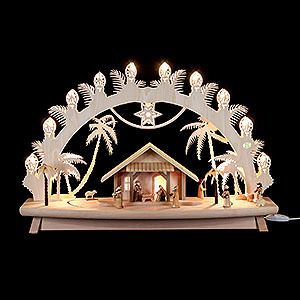 Candle Arches Fret Saw Work 3D Candle Arch - 'Nativity' with Moving Figures - 68x43x16 cm / 27x17x6 inch