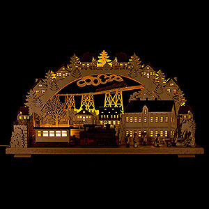 Candle Arches Illuminated inside 3D Candle Arch - Railway with smoking Engine - 70x38 cm / 27.6x15 inch